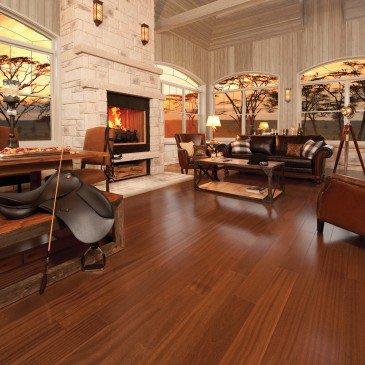 Brown African Mahogany Hardwood flooring / Brass Mirage Exotic / Inspiration