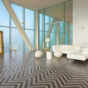 Brown Maple Hardwood flooring / Platinum Mirage Herringbone / Inspiration