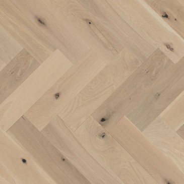 Natural White Oak Hardwood flooring / White Mist Mirage Herringbone