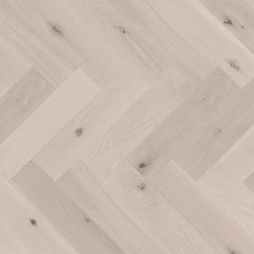 White White Oak Hardwood flooring / Snowdrift Mirage Herringbone