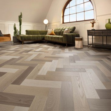 Brown White Oak Hardwood flooring / Sand Castle Mirage Herringbone / Inspiration