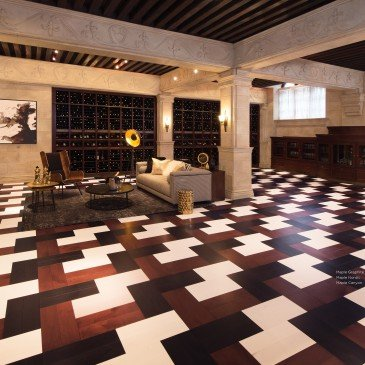 Reddish-brown Maple Hardwood flooring / Canyon Mirage Herringbone / Inspiration