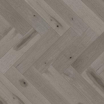 Brown Maple Hardwood flooring / Grey Drizzle Mirage Herringbone