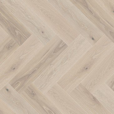 White White Oak Hardwood flooring / Bubble Bath Mirage Herringbone