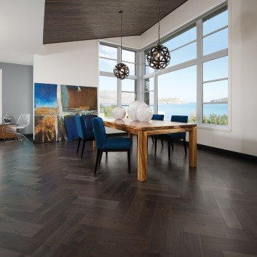 Brown Walnut Hardwood flooring / Charcoal Mirage Herringbone / Inspiration