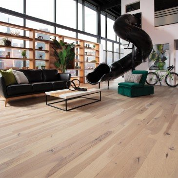 Pale grey Hickory Hardwood flooring / Desert rose Mirage Flair / Inspiration