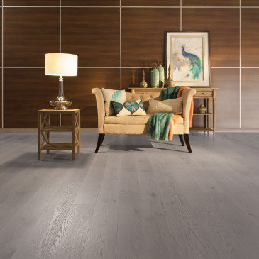 Planchers de bois franc Chêne Blanc Brun / Mirage Herringbone Grey Drizzle / Inspiration