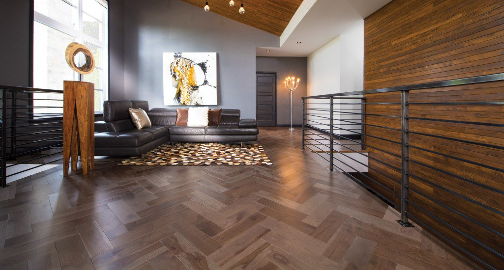 Herringbone Hickory Greystone Mirage Hardwood Floors