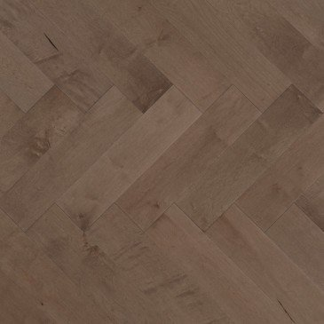 Brown Maple Hardwood flooring / Greystone Mirage Herringbone